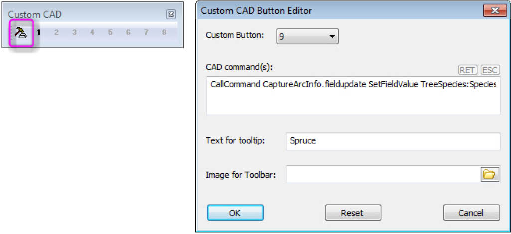 Paste or set a FieldUpdate string in Summit's Custom CAD toolbar editor