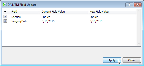 The button/key will automatically apply the values as if applied from Field Update dialog